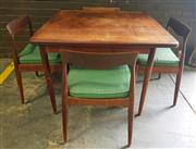 Sale 8967 - Lot 1063 - Vintage Parker Five Piece Dining Setting incl. Four Spade Back Chairs & Fold Over Extension Table (H:75 L:100 W:100cm)