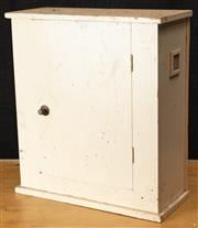 Sale 8984H - Lot 364 - a wall mountable white painted rimber medicine cabinet with air vents to side. Height 67 width 60cm