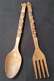 Sale 8979 - Lot 1024 - Carved Decorative Fork and Spoon (L:70cm)