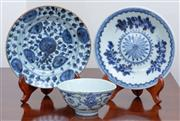 Sale 9005H - Lot 37 - Two Qing blue and white saucer dishes together with a footed bowl, diameter of dishes 19cm