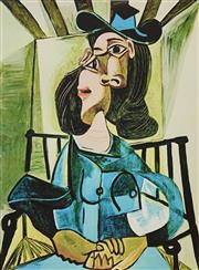 Sale 9006A - Lot 5050 - Pablo Picasso (1881 - 1973) - Woman with Hat Seated in Armchair 46 x 30 cm (sheet)