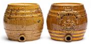 Sale 9054E - Lot 61 - A stoneware barrel labelled Gingerette bearing royal coat of arms together with another similar example. height 21cm