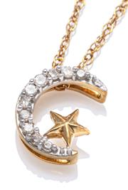Sale 9083 - Lot 486 - A 10CT GOLD DIAMOND PENDANT; symbolic pendant featuring an 11mm crescent moon and star set with 10 single cut diamonds totalling app...