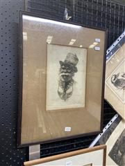 Sale 9082 - Lot 2020 - B.E. Minns King Billy, 1912, etching ,ed 37, (AF- foxing), frame: 46 x 36 cm, signed lower left -