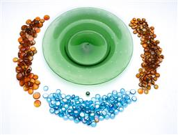 Sale 9098 - Lot 68 - A Large Art Glass Dish Together with A Collection of Coloured Glass Beads
