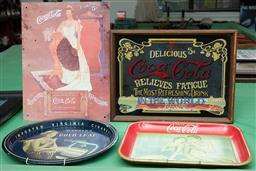 Sale 9103H - Lot 84 - Four items of advertising ware pertaining to Coca-Cola and Virginia Cigarettes, largest 40.5cm x 30cm