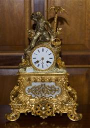 Sale 7978 - Lot 70 - French Bronze Gilded Mantle Figural Clock