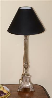 Sale 8171A - Lot 43 - Antique French silver plate pricket converted to table lamp, H with shade 64cm