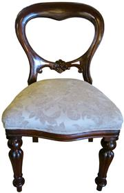 Sale 8258A - Lot 26 - Set of four Victorian mahogany balloon back dining chairs newly upholstered, RRP $395 each