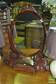 Sale 8337 - Lot 1001 - Heavily Carved Oval Toilet Mirror