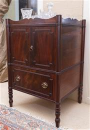 Sale 8550H - Lot 106 - An antique George III mahogany cabinet C: 1800, with shaped gallery top above a pair of panelled cupboard doors over a deep drawer,...