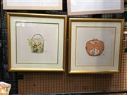 Sale 8726 - Lot 2043 - Pair of Chinese Still Life Watercolours, 51 x 51cm (frame size)