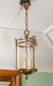 Sale 8795A - Lot 43 - A vintage bronze and etched glass ceiling lantern, drop of 33cm