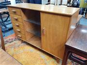 Sale 8822 - Lot 1058 - Vintage Maple  Sideboard With Five Drawers a Single Door & Two Glass Shelves