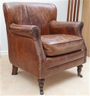 Sale 8908H - Lot 85 - A pair of leather French club chairs, with stud detailing to arms. Height of back 87cm x Width 75cm x Depth 75cm