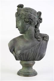 Sale 8923B - Lot 2 - An Italian patinated brass bust of Aphrodite, engraved to shoulder, Fonderia Sommer, Napoli. Height 23cm