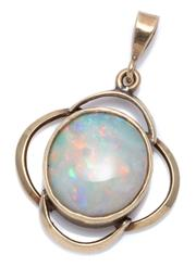 Sale 8974 - Lot 328 - A VINTAGE 9CT GOLD OPAL PENDANT; rub set with a 12 x 11mm solid opal with good colour display in a quatrefoil shape frame, wt. 2.3g.