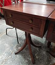 Sale 8993 - Lot 1064 - Unusual Small Regency Style Cedar Centre Table, ensuite, with a proper & faux drawer to each side, on turned pedestal (H: 74 x W: 54...