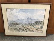 Sale 9028 - Lot 2083 - Artist Unknown Shrub Lands and Snow Capped Mountain watercolour 54 x 72cm (frame) signed lower right