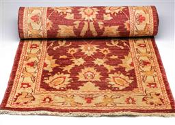 Sale 9093P - Lot 58 - Indian Chobi Wool Runner in Cream and Red Tones (348 x 80 cm)