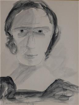 Sale 9210A - Lot 5024 - SIDNEY NOLAN (1917 - 1992) Bar Maid, 1948 pencil and wash on paper 31 x 24 cm (frame: 65 x 56 x 4 cm) signed and dated