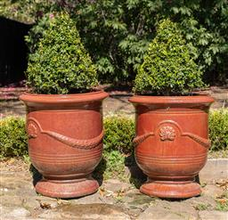 Sale 9248H - Lot 304 - A pair of brown anduze pot height 64 x 58cm