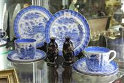 Sale 8261 - Lot 67 - Copeland Blue Willow Tea Wares with a Cloisonne Pair of Vases (1 a.f.)