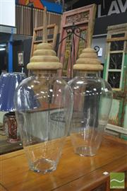Sale 8257 - Lot 1008 - Pair of Large Glass Lidded Vases