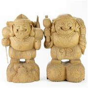 Sale 8304A - Lot 3 - Japanese Timber Pair of Figures Depicting Daikokuten & Ebisu