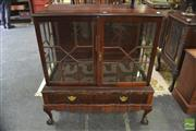 Sale 8338 - Lot 1421 - Raised Timber Display Cabinet with Two Glass Panel Doors & Two Drawers