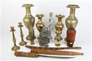 Sale 8396 - Lot 20 - Brass Pair Of Vases with Other Metalwares Incl. Candlestick With Carved Timber Wares