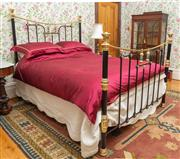 Sale 8649A - Lot 65 - An Edwardian cast iron, brass and porcelain mounted double bed, with iron rails and timber slats, W 154 x L 215cm