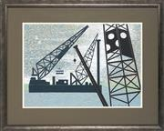 Sale 8759 - Lot 2014 - Vi Collings - Industrial Cranes , 1988 40.5 x 55.5cm