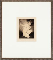 Sale 8795A - Lot 100 - Norman Lindsay- The Bauble 1924, etching, 14x11cm, signed lower right.