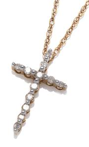 Sale 9090J - Lot 359 - A 10CT GOLD CRUCIFORM DIAMOND PENDANT; 18 x 10mm cross set with 12 single cut diamonds totalling approx. 0.10ct on a plated chain.