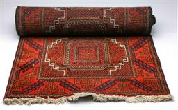 Sale 9093P - Lot 59 - Afghan Mahal Mohammadi in Red and Black Tones (340 x 72 cm)