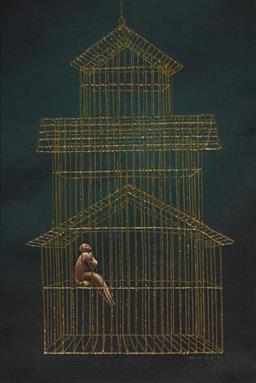 Sale 9096 - Lot 549 - Michael Mucci The Girl in the Gilded Cage mixed media on canvas 52 x 34 cm (frame: 52 x 75 x 4 cm) signed lower right