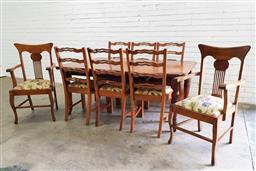 Sale 9102 - Lot 1142 - Timber extension dining table with set of 6 chairs & 2 unmatched carvers - winder & feet in office (h73 x w174 x d113cm)
