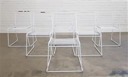 Sale 9188 - Lot 1721 - Set of 6 metal sled based chairs (h:84 x w:50 x d:55cm)