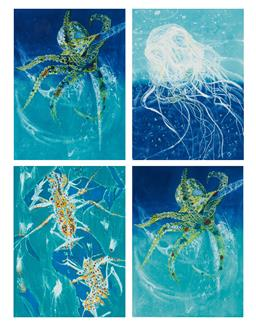 Sale 9189A - Lot 5018 - FRANK HODGKINSON (1919 - 2001) (4 works) 'Reef Shrimp; Octopus (2); Chinorex, 1997' etchings and aquatints with hand-colouring, eds..