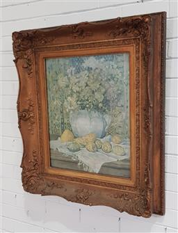 Sale 9215 - Lot 1065 - Antique Timber & Moulded Gilt Gesso Frame, with still life print of flowers with lemons (90 x 80cm)