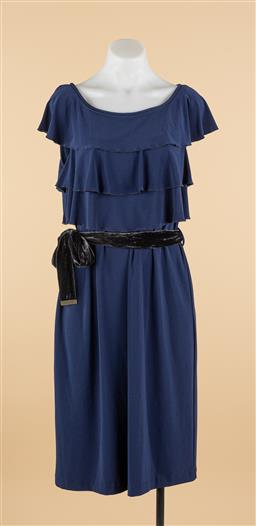 Sale 9250F - Lot 62 - A Leona Edminston navy dress with layered frills and velvet tie, size 3.