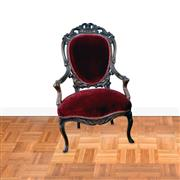Sale 8000 - Lot 263 - A Late C19th Dutch carved mahogany armchair upholstered in red velvet .