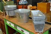 Sale 8129 - Lot 1025 - Metal Tub On Stand And A Collection Of Planters