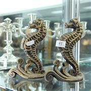 Sale 8231 - Lot 41 - Bronze Pair of Seahorse Bookends