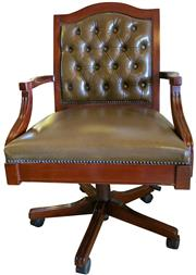 Sale 8258A - Lot 28 - Button back leather upholstered desk chair, brown leather, swivel and tilt contemporary chair, gas mechanism, RRP  $1250