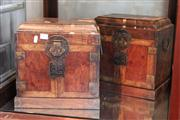 Sale 8273 - Lot 42 - Huanghuali Pair of Book-Matched Table-Top Guanpixiang Chests