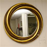 Sale 8310A - Lot 379 - A decorative circular gilt and timber bevelled edge mirror, with rope twist frame, D 110cm, from Avax