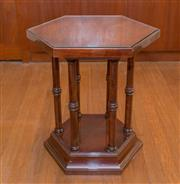 Sale 8368A - Lot 49 - A hexagonal timber pedestal with turned columns, W 49cm