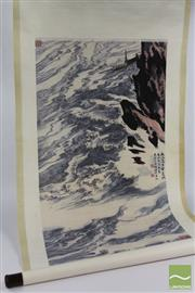 Sale 8512 - Lot 41 - Chinese Scroll of A Boat and Coastal Scene